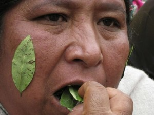 Bolivian woman chews coca leaves during a protest in La Paz