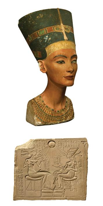 Um busto da rainha Nefertiti. C. 1350 A.E.C (topo). A rainha, seu marido Akhenaton e suas filhas retratados (acima) em um relevo de pedra. (bpk, Berlin/ Aegyptisches Museum, Staatliche Museen, Berlin, Germany / Art Resource, NY)