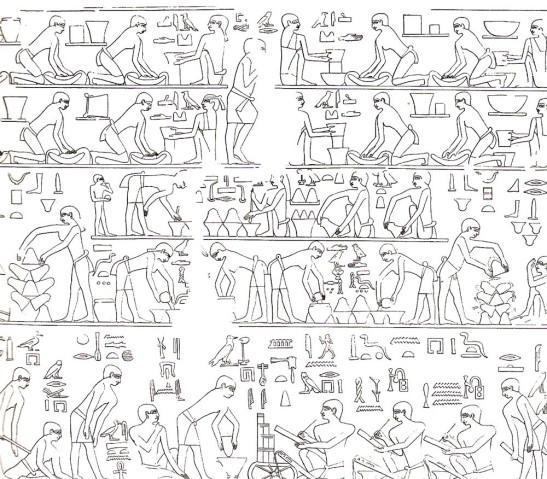 Atividades em uma cozinha apresentada na tumba de Ti, Saqqara. TALLET, 2006. Pág. 65.