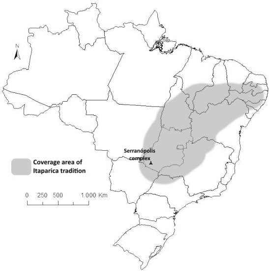 Localização do COmplexo arqueológico de Serranópolis, e a área de cobertura da Tradição Itaparica.