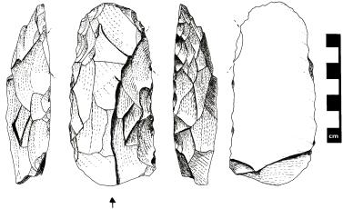 Artefato lítico encontrado nas camadas mais antigas do sítio Lapa Grande de Taquaraçu.