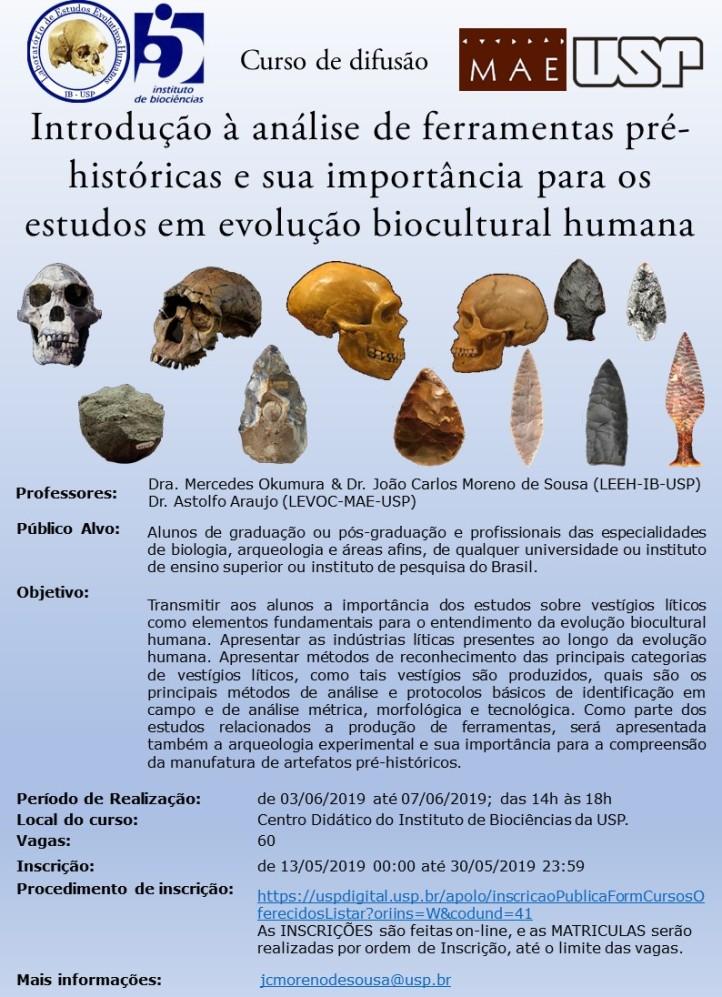 Cartaz curso - Ferramentas pré-históricas e evolução humana IB-USP